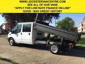 2014 14 FORD TRANSIT 2.2TDCI T350 DRW LWB TIPPER DOUBLE CAB. 6 SEATS. 1 OWNER. F