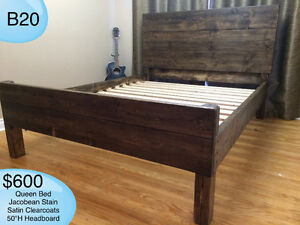 SOLID WOOD QUEEN BED W/ HEADBOARD, FOOTBOARD, RAILS AND SLATS Kingston Kingston Area image 1