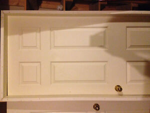 Prehung door with frame interior