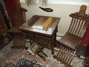 Syrian Chess Table Chairs and Men 1980's 925 OBO