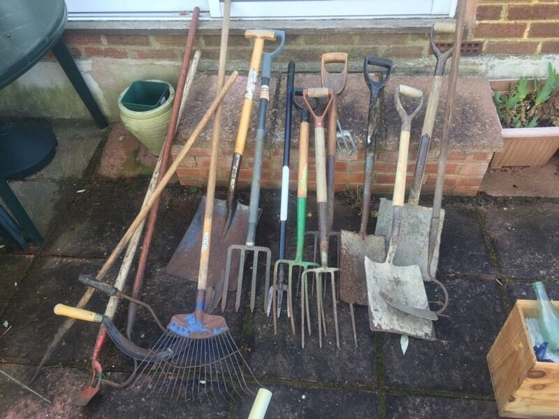 job lot of 18 well used gardening tools for sale forks