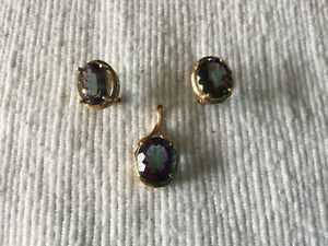 Rainbow Topaz Goldtone Earrings and Pendant