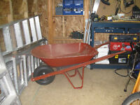 Red Wheel Barrow with metal container.