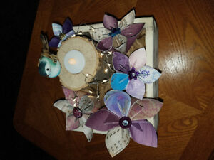 5 beautiful, rustic, hand made paper flower, centerpiece boxes
