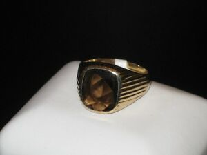 10k gold smokey quartz ring, size 11