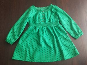Green/navy blue polka dot long sleeved dress size 3T, Old Navy