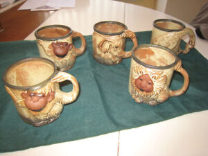 "MUGS (5),  ""Giftcraft"" VINTAGE STONEWARE, ANIMAL CHARACTERS,"