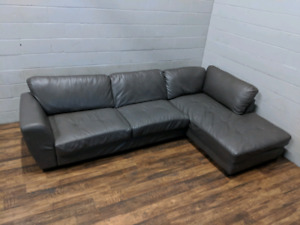 (Free Delivery) - Grey bonded leather sectional sofa