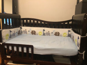 Espresso Crib To Toddler Bed Frame & Assesories