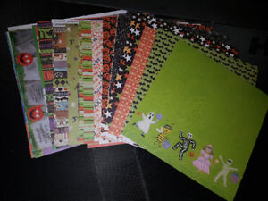 Halloween Themed Scrapbooking Paper and Embellishments