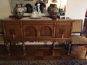 Antique Jacobean style solid oak dining room set