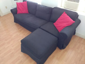Sofa, cherry dinning table set with 4 chairs and bookahelf