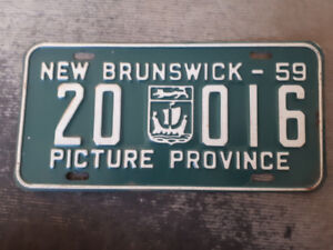 1959 New Brunswick License plate in excellent condition