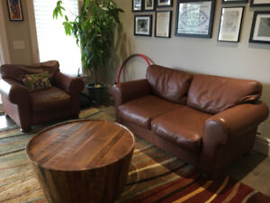 Leather Love Seat & Side Chair