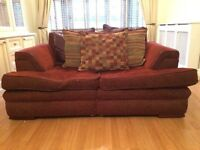 Red Fabric Sofa x2