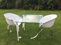 NEW & BOXED GLASS TOPPED TABLE AND 2 CHAIRS