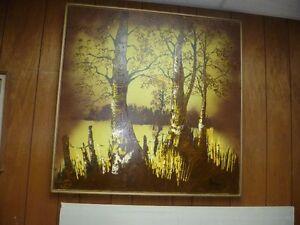 cadre simple avec  peinture nature automnale `a la spatule...