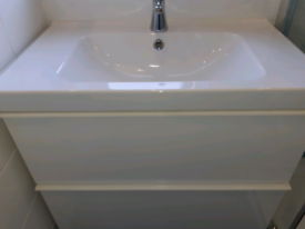 IKEA bathroom sink unit and tap with drawers