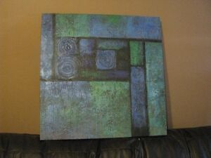 Wall art - abstract blue green painting