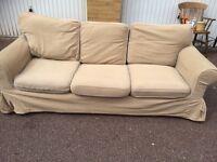 IKEA EKTORP Brown Three-seat sofa free London delivery