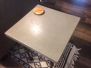 Handmade Concrete, Wood and Iron Pipe Side Table