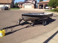 14 foot lung aluminum boat and trailer