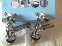 Brand new pair of traditional chrome bath taps