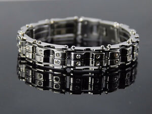 Stainless Steel Chain Link Bracelet With Swarovski Crystals 9""