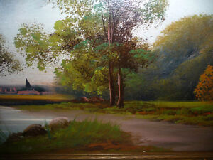 "Original Oil Painting ""Early Summer Path"" Vintage Early 1900's Stratford Kitchener Area image 5"