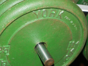 YORK: a set of steel plates, a bar12x25lb5x5lb8x2.5lbsasking