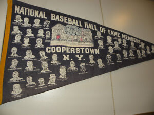 """Vintage  Cooperstown Baseball Hall o Fame Members 36"""" Pennant"""