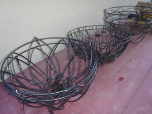 6 Black Wire hanging baskets / planters