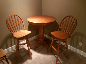 Tall, Bar Height, Round Oak Table and Chairs