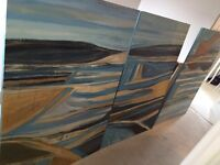 3 large canvas paintings