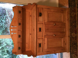 Antique Pine Buffet and Hutch For Sale