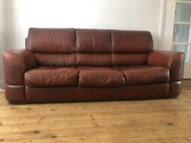 Tan Brown Leather 3 Seater Sofa by Max Divani