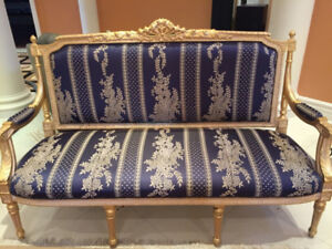 5 Piece Living Room Set - Blue on Gold - Classical