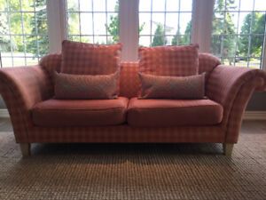 Coral check couch with matching chair and ottoman