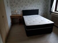Double divan bed with drawers leather headboard