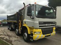2010 60 DAF CF 85.360 EURO5 8x4 Thompson tipper with HMF 1244 crane and grab