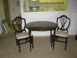 NEW PRICE: Gibbard solid mahogany Table and 2 matching Chairs
