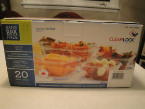20 PIECE PLASTIC FOOD STORAGE CONTAINERS, BRAND NEW!!