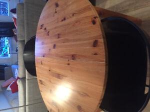 Table de cuisine ronde en bois avec rallonge