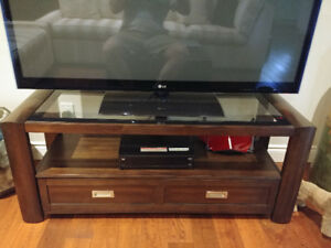 Wood & Smoked Glass TV Stand