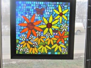 Flower garden mosaic stained glass