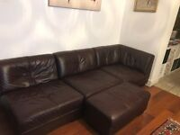 Corner leather sofa with foot stool in a good condition