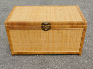 Vintage Reinforced Rattan Wicker Chest / Trunk w/ Brass Accents