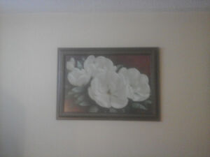2 framed flower prints.  They are a set.