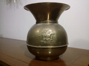 Antique Advertising Brass Spittoon Pony Express Chewing Tobacco