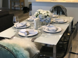 IKEA TORSBY GLASS TABLE W/ TOBIAS CHAIRS + ARM CHAIRS